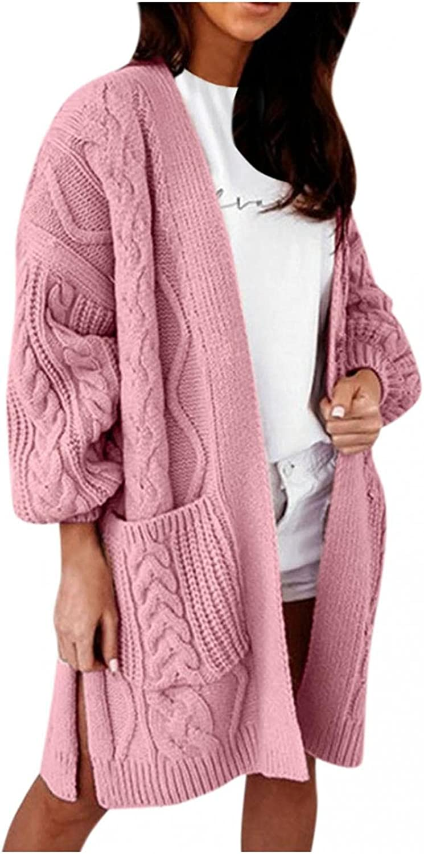 Hemlock Women Mid Length Sweaters Cardigans Cable Knit Sweater Coat Wool Open Front Cardigan Pocket Outwear