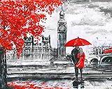 JinWensm DIY Leinwand Gemälde für Erwachsene und Kinder, Liebhaber in London DIY Ölgemälde Malen Nach Zahlen Kits Vorgedruckt Leinwand Home Haus Dekor 16x20 Zoll / 40 * 50 cm Ohne Rahmen