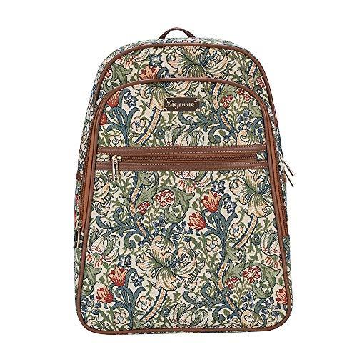 Signare Gobelin-Rucksack für Damen, Computerrucksack, Büchertaschen für Frauen, mit goldenem Lilien-Design (BKPK-GLILY)