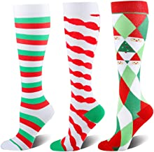 Holiday Compression Socks for Women and Men - 1/3 Packs Graduated Compression Knee High Medical Stocking for Travel, Pregnancy, Nursing, Running (3 Pairs,Christmas Tree, Small/Medium)