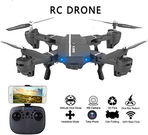 HUAXING RC-Drohne mit Kamera, Drohne RC-Hubschrauber 2.4G 6-Achsen-3D-H nflug Halten Sie eine Schlüsselrückhol-Drohne gedrückt