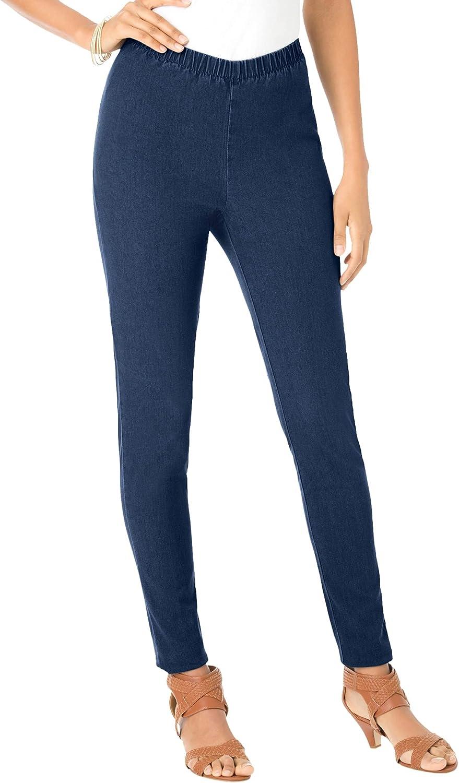 Roamans Women's Plus Size Skinny-Leg Pull-On Stretch Jean Elastic Waist Jegging