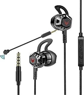 Sound-b ゲーミング イヤホン マイク付き 高音質 ps4ヘッドセット ステレオ 超軽量 21g ゲームヘッドセット カナル型 重低音 音漏れ防止 マイク取り外し可能 ダブルマイク TPE弾力ケーブル ノイズ消却 スマートフォン/PC /ps4/Switch/荒野行動など対応