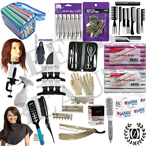 Profession 20PCS Cosmetology Kit Hair School, Barbershop Beauty Salon Approved Use! 10 Piece Comb Set, Butterfly Clips, Flex Rods, Mannequin Head w/stand! Hair Brushes! Neck Wraps!