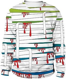 Scary Sweatshirt Womens Halloween Blood Bandage 3D Printed Tops Party Caps Sweatshirt