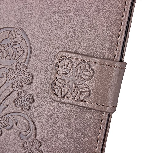 EMAXELERS Huawei Honor 5X Hülle Lucky Clover Schutzhülle Ledertasche Lederhülle Handyhülle Wallet Case Flip Etui Tasche Handytasche mit Standfunktion Karteneinschub,Gray Clover - 5
