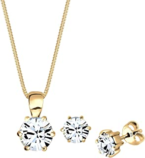 Elli Women 925 Sterling Silver Gold-plated Classic Swarovski® Crystals Jewellery Set