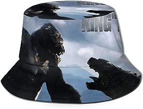Wide Brim Godzilla VS King Kong Cap Bucket Hat Packable Outdoor Camping Fishing Rain Safari Boonie Cap Black