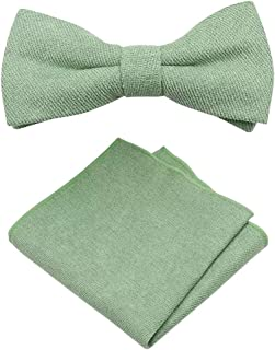 Sage Green Cotton Bow Tie & Pocket Square Set