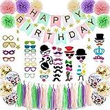 Hanakaze レインボー 誕生日 飾り付け セット 豪華100点フォトプロップス 、ペーパー フラワー、誕生日のバナー、タッセル、ガーランド、写真小道具、バルーン 男の子、女の子