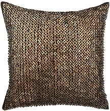 The HomeCentric DecorativeToss Cushions, Decorative Cushion Covers 35 x 35 cm Brown, Silk Throw Pillow Cushion Covers, Ha...