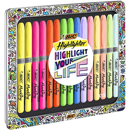 BIC Highlighter Grip Collection Box - Assorted Intense and Pastel Colours, Metal Gift Box of 15, Assorted Colours