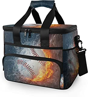 Picnic Insulated Bag Baseball in Fire and Water Picnic Basket, BBQ Meat Drinks Beer Wine Cooler Bag 24 Cans, Leakproof Cooler Basket Keep Food Cold/Hot Storage 15L for Camping Travel for Men Women