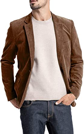 Mens Casual Corduroy Blazer Slim Fit One Button Long Sleeve Suits Solid Vintage Jackets Tops