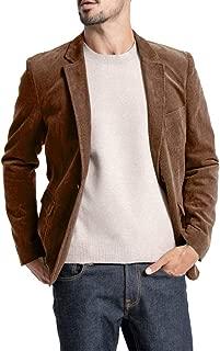Mens Winter Casual Corduroy Blazer Slim Fit Two Button Sport Coat Suit Jacket Notched Lapel