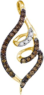 10k Yellow Gold Round Chocolate Brown Diamond Curled Pigtail Pendant (1/3 Cttw)