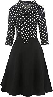 Ez-sofei Women's Vintage 1940s Keyhole Bowtie Pockets A-line Party Swing Dress