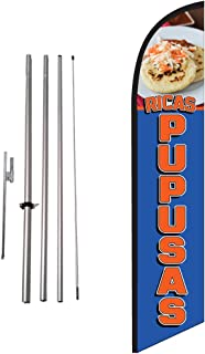 Ricas Pupusas Mexican Restaurant Advertising Feather Banner Swooper Flag Sign with Flag Pole Kit and Ground Stake