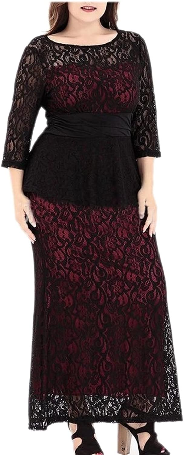 TDCACA Womens Lace Floral 3 4 Sleeve Peplum Bodycon Long Maxi Dress Plus Size