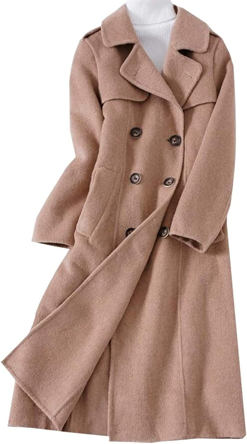 Sanderso Women's Classic Trench Coat DoubleBreasted Hooded Overcoat with Belt