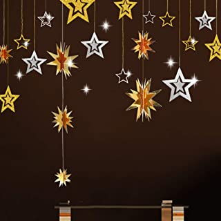 Gold and Silver Star Hanging Decoration 3D Star Cutout Twinkle Little Star Garland Bunting Banner Starry Party Supplies for Birthday/Wedding/Baby Shower/Graduation/Christmas/Kid Room/New Year Decor