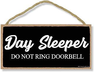 Day Sleeper Do Not Ring Doorbell - 5 x 10 inch Hanging Door Signs, Wall Art, Decorative Wood Sign Home Decor