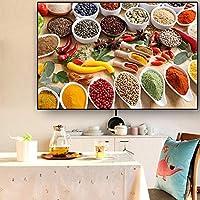 ポスターと版画穀物スパイススプーンペッパーキッチンキャンバス絵画レストラン壁アート食品写真リビングルーム(20x35cm)フレーム付き