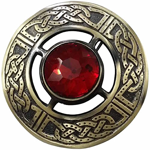 AAR Men's Kilt Brooch Pin Stones Scottish Fly Plaid Celtic Chrome Plated Norse Vintage Jewelry Red