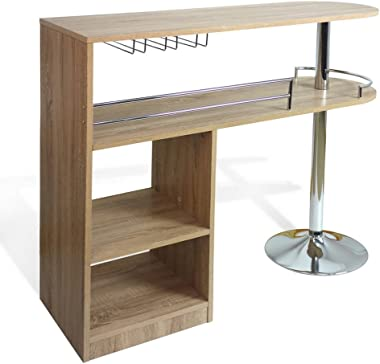 Homegear Kitchen Cocktail Bar Table - Oak