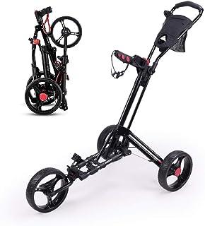 BOYZ 3 Wheel Golf Push Carts Folding Golf Pull Trolley Umbrella Stand Scorecard Drink Holder One Second to Open and Close