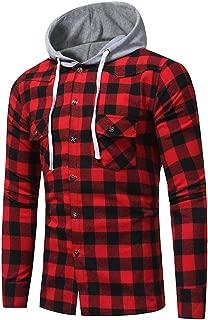 Mens Plaid Long Sleeve Lattice Printed Hoodie Pullover Sweatshirt Tops Blouse