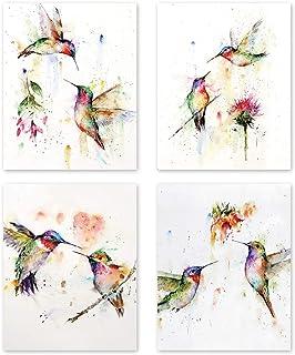 KAIRNE Lot de 4 Abstrait Affiche Aquarelle Oiseau–Colibri Et Fleurs Impressions D'art–Colorés Animaux Art Posters–Toile Mu...