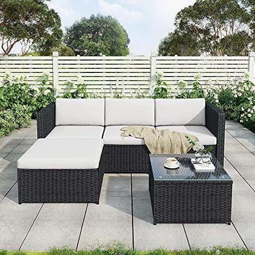 Leisure Zone Polyratten Lounge Set, 5 Teilig Sitzgruppe für 3-4 Personen, Gartenmöbel Set mit Kissens, für Garten, Terrasse&Balkon, Schwarz