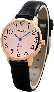 Women's Quartz Watches Simple Digital Dial Wrist Watch Teen Girls Fashion Leather Band Watch Unique Dress Wristwatch Casual Elegant Watches COOKI Women Watches On Sale Clearance