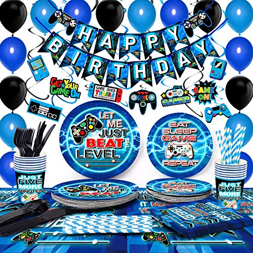 TMCCE Blue Video Game Party Supplies Gaming Party Decoration For Paper Plates,Cups,Napkins, Straws,Hanging Swirls,Balloons And Happy Birthday Banner For Gamer Birthday Party Decoration(NO Tablecloth)