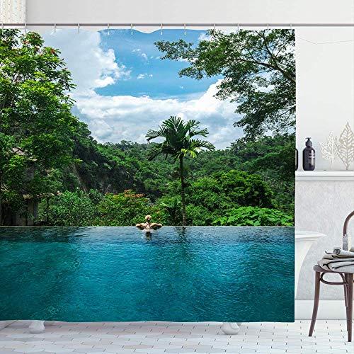 Duschvorhang,Bäume Blau Ubud Girl Infinity-Pool In Richtung Dschungel Palmen Parks Grünen Tropischen Wald Schönen Bunten Druck Duschvorhänge