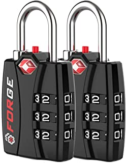 Forge TSA Approved Luggage Locks 2 Pack - Open Alert Indicator, Alloy Body for Travel Luggage, Suitcase, Lockers