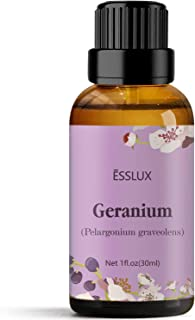 Geranium Essential Oil, Esslux Aromatherapy Essential Oils for Diffuser, Massage, Soap, Candle Making, Perfume, 30 ml