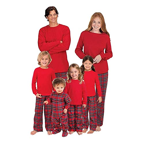 7de3b5802c Hzjundasi Parent-Child Blouse and Plaid Long Pants Pajamas Set - Family  Matching Long Sleeve