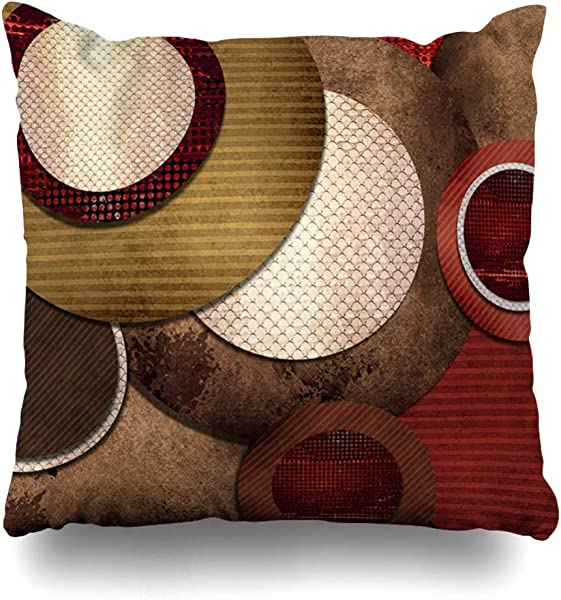 Ahawoso Throw Pillow Cover Idea Abstract Red Circle Layers Artistic Vintage Stripe Modern Christmas Ball Shabby Chic Design Home Decor Pillowcase Square Size 16 X16 Decorative Cushion Case