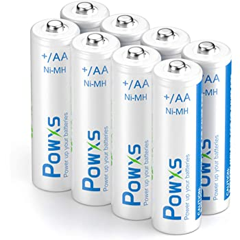 POWXS Rechargeable AA Batteries, 2000mAh Stardard Double AA Size Perfect for Remotes Toys & Electronic, Pack of 8