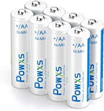 POWXS AA Rechargeable Batteries (8 Pack), 1.2V 2000mAh Pre-Charged Ni-MH Double A Battery 1200 Cycles Long Lasting & Low Self-Discharge