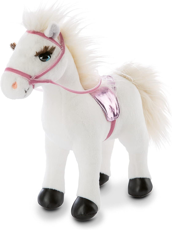 NICI Winnie el Caballo Suave de 25 cm de pie con Brida y Silla de Montar-Peluches Pony Juguetes, niños y bebés-Animal de Relleno para Jugar y abrazar, Color Blanco/Rosa, (47106)