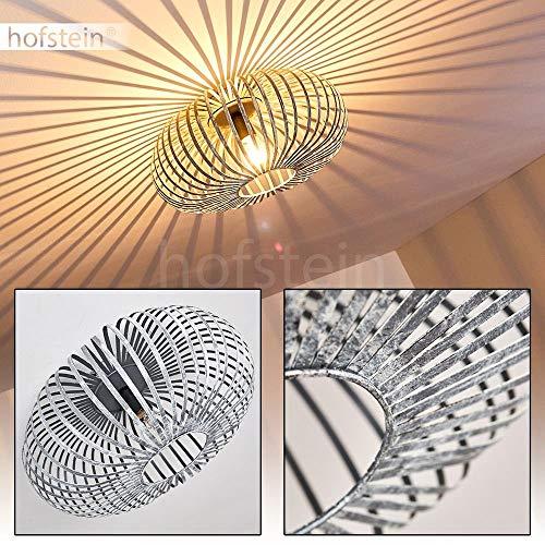 Deckenleuchte Ovari, Deckenlampe aus Metall in Grau/Silber, 1-flammig, 1 x E27-Fassung max. 60 Watt, moderner Spot im Retro/Vintage Design m. Gitter u. Lichteffekt an der Decke, LED geeignet