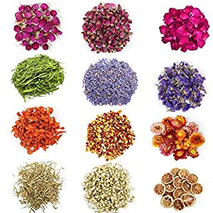 HoneySky Dried Flowers 12 Bags Kit Dried Herbs Include Dried Lemon Slices, Rose, Lily, Lavender, Witchcraft Herbs for Candle& Soap& Lipgross& Bath& Bomb& Body Oil Making and More