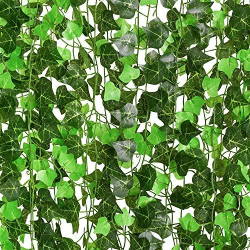 YQing Plantas Hiedra Artificial Decoración Interior y Exterior 91ft-12 Piezas Guirnalda Hiedra Artificial De Hogar Boda Jardín Valla Escalera Ventana para Decoración