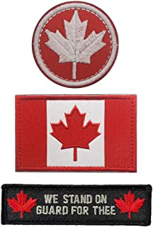 SOUTHYU 3 Pieces Canada Flag Canadian Province Tactical Morale Patches Military Emblem Embroidered Badge Applique Hook and Loop Patch