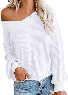 Women Waffle Knit V Neck Off-Shoulder Tops Blouses Loose Fit Pullover Sweater