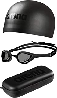 ARENA Triple Black Race Set with Cobra Ultra Goggles, 3D Moulded Swim Cap, and Goggle Case