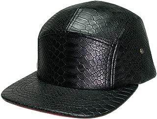 5 Panels Crocodile Snapback Women Unisex Snakeskin Faux Leather Hiphop Metal Buckle Baseball Cap Hat Men (Black with Red Brim)